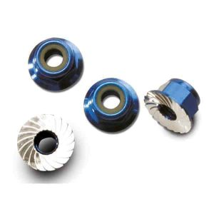 (TRX-1747R) - Blue Anodized Lock Nuts 4mm (4pcs) - 1/16 E-Revo